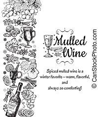 voorbeelden, schets, poster., ouderwetse , mulled, glas., stijl, menu, hand, vector, black , retro, achtergrond, getrokken, kaarten, ontwerp, witte wijn