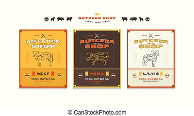 voorbeelden, winkel, set, slager, etiket