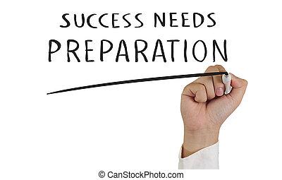 voorbereiding, behoeftes, succes