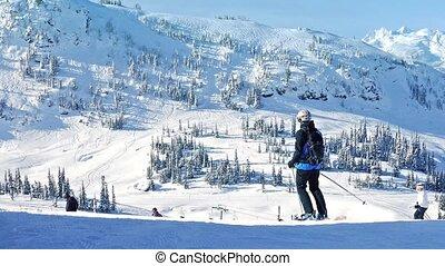 voorbij, bergen, zon, ski, mensen