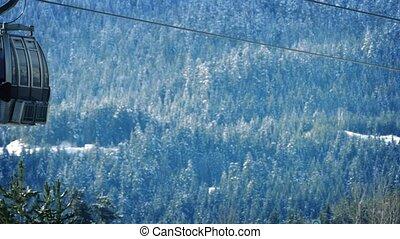 voorbijgaand, liften, ski, bos, besneeuwd
