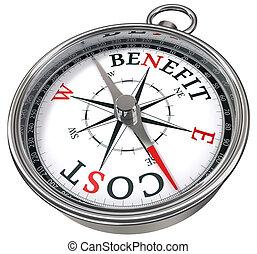 voordeel, concept, kosten, kompas