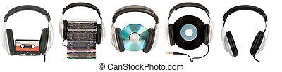 voorkant, headphones, dj, aanzicht
