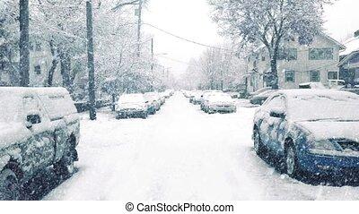 voorsteden, snowstorm, straat
