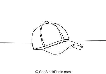 voortdurend, pet, lijn, illustratie, style., achtergrond., vector, honkbal, witte , tekening