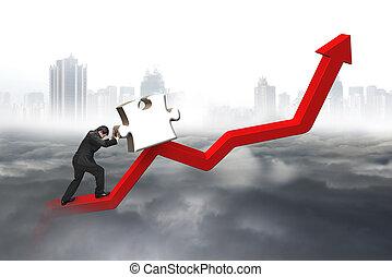 voortvarend, handel trend, raadsel, jigsaw, 3d, lijn, man, rood, omhoog