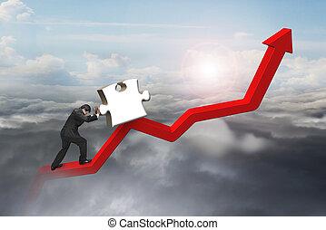 voortvarend, trend, raadsel, jigsaw, zakenman, lijn, omhoog, rood, 3d