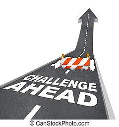 vooruit, gevaar, uitdaging, bouwsector, gat, waarschuwend, straat