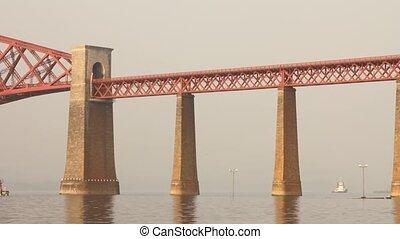 vooruit, voorbijgaand, trein, brug