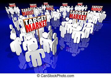 vooruitzichten, doel, mensen, klanten, klanten, illustratie, markt, 3d