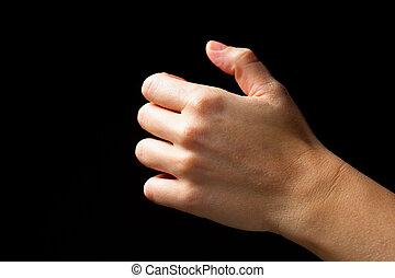 voorwerp, vrijstaand, hand, black , vasthouden, onzichtbaar
