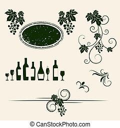 voorwerp, winery, silhouettes., ontwerp