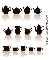 voorwerpen, aardewerk, set., silhouettes