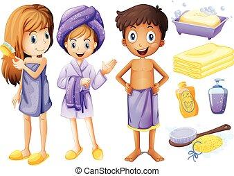voorwerpen, badkamer, kinderen