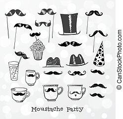 voorwerpen, feestje, snor