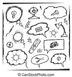 voorwerpen, gedachte, bellen