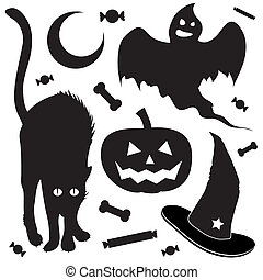 voorwerpen, halloween, schets