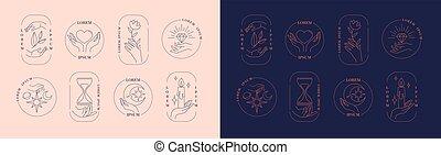 voorwerpen, logos, handen, vasthouden, set, ingelijst