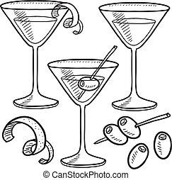 voorwerpen, martini, schets