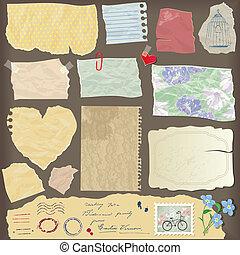 voorwerpen, papier, anders, oud, oud, -, peaces, set, ouderwetse