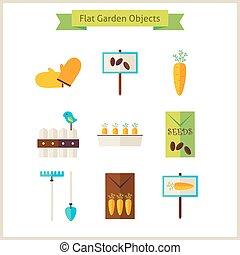 voorwerpen, plat, set, tuin