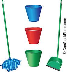 voorwerpen, poetsen, vloer