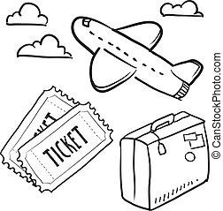 voorwerpen, reizen, schets, lucht