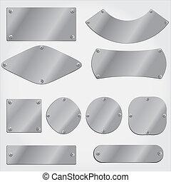 voorwerpen, samenstellen, metaal, set, platen