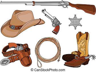 voorwerpen, set, cowboy