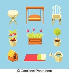 voorwerpen, set, tuin