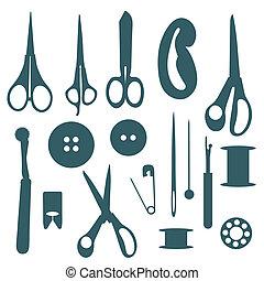 voorwerpen, silhouettes, set., naaiwerk