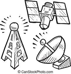 voorwerpen, telecommunicaties, schets