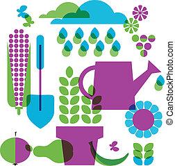 voorwerpen, tuin, mal