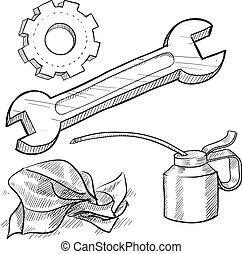 voorwerpen, werktuigkundige, schets