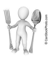 vork, grote man, spoon., 3d