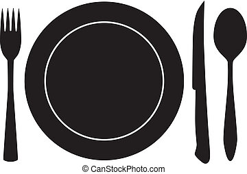 vork, lepel, vector, plateful, mes