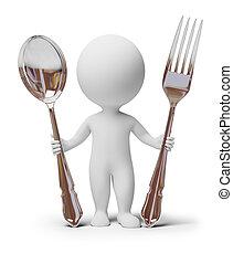 vork, mensen, -, lepel, kleine, 3d