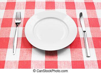 vork, schaaltje, gecontroleerde, witte , mes, tafelkleed, rood