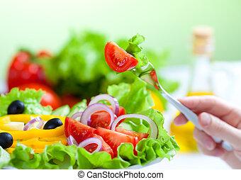 vork, slaatje, gezond voedsel, groente, fris
