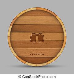 vorm, etiket, vat, houten, bier, vector