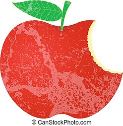 vorm, grunge, appel, eten