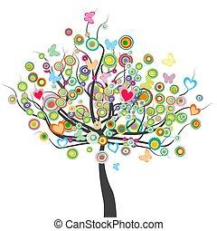 vorm, leaves.eps, vlinder, bloemen, cirkel, gekleurde, boompje