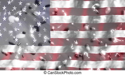 vraag, amerikaan, looping, vlag, achtergrond, tekens, pillen