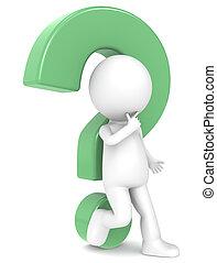 vraag, karakter, mark, groene, menselijk, 3d
