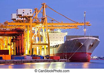 vrachtschip, industriebedrijven, container