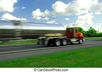 vrachtwagen, benzine, speeding