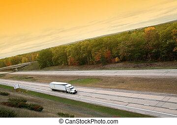 vrachtwagen, semi, witte