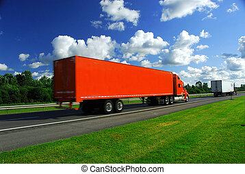 vrachtwagen, snelheid, snelweg