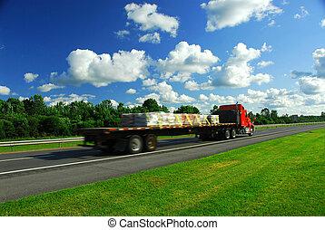 vrachtwagen, snelheid, straat
