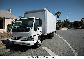 vrachtwagen, verhuizing, straat